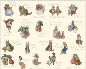 "beatrix potter's characters - counted Cross Stitch Pattern embroidery, kreuzstitch, korss  - 30.79"" x 25.86""  - L1117"