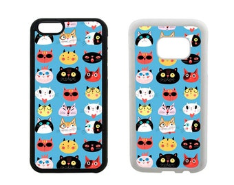 Cat phone case iPhone 5S 5C SE 6S 6 7 8 Plus X 5 4S, Samsung Galaxy S8 Plus, S7 S6 Edge Note 5 S5 S4, rubber bumper phone cover gifts.  R344