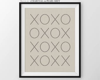 Engagement Gift, XO Print, Gift for Couple, Newlywed Gift, Modern Bedroom Wall Decor, Black and White Decor, Chic Wall Art Typographic Print