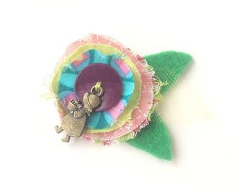 Kids hair clip pink flower and purple heart - textile brooch - hair jewelry