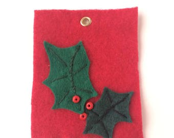 Christmas tag - Christmas decoration - table decoration - Holly leaves