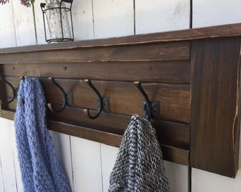 "Rustic Wooden Coat Rack, Modern Coat Rack, Rustic Entryway Shelf, Wood Shelf with Hooks,40"", 34"" and 28"" Lengths Available! - Espresso Stain"