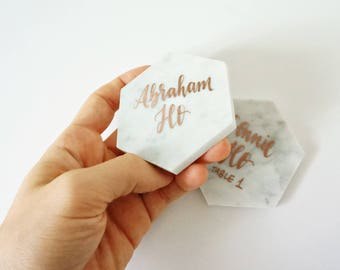 gold calligraphy marble place cards // custom handwriting font in rose gold and silver pen for handwritten wedding escort cards