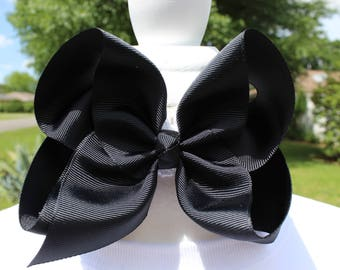 Black Solid Hair Bow - 5 inches wide Printed Hair Bow - French Barrette backing