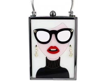 White fashion glasses with beauty box