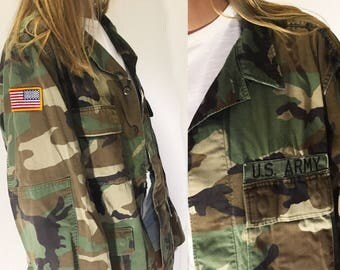 Vintage Patched Army Jacket