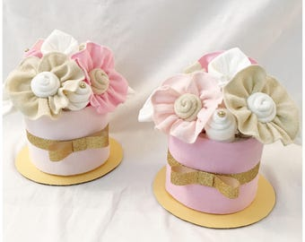 Pink and Gold Mini Diaper Cake Centerpiece for Girl - Pink and Gold Baby  Shower Decor/New Baby Gift