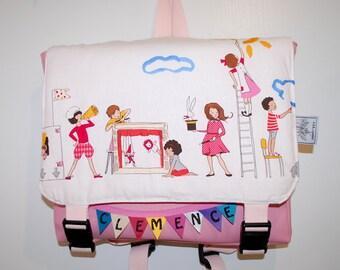 Briefcase leatherette kindergarten model flag/girl