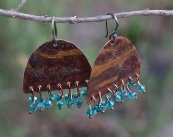 Rustic artisan earrings, Artisan copper jewelry, Dangle copper earrings, Crystal earrings, Organic copper earrings, Sterling silver hooks