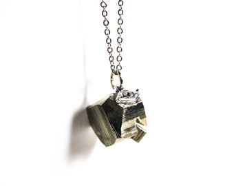 Raw crystal necklace, raw pyrite necklace, all seeing eye pendant, long necklace, raw crystal jewelry | Gift wrapped
