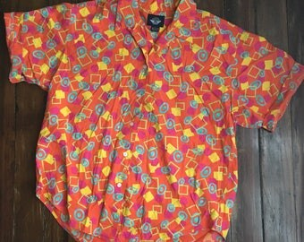 90s Patterned Button Up