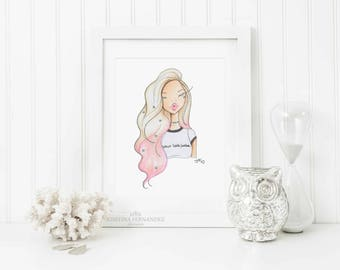 "Fashion illustration print, ""Your loss, babe"",Fashion sketch art,Fashion art print,Fashion illustration sketch,watercolor fashion sketch"