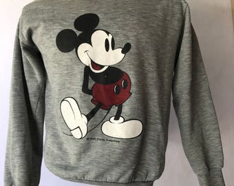 Vintage 1980s Heather Gray Disney Mickey Mouse Sweatshirt Made in USA Size Small
