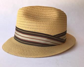 Vintage Hemp Straw Fedora Milan Weave Size 7 1/8