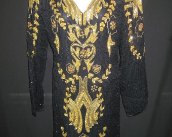 Black/gold T. Length gown#20059