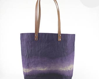 Medium Waxed Cotton Canvas Tote Bag -  Purple - Leather Handles