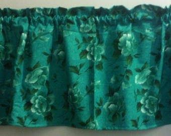 Window Curtain and Valance Rose in Teal color
