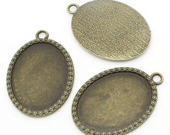 2 pendant oval tray (pr 40x30mm) backings