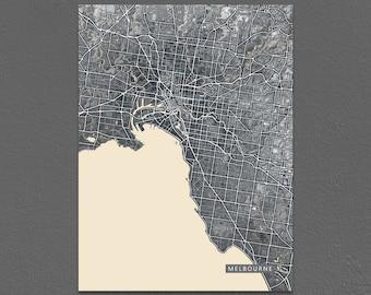 Melbourne Map Print, Black and White Art, Vintage Inspired, Australia