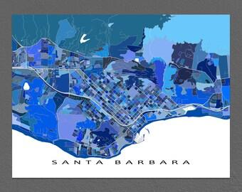 Santa Barbara Map Print, Santa Barbara California City Art Maps, Blue