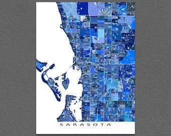 Sarasota Map Art Print, Sarasota, FL, Florida City Maps