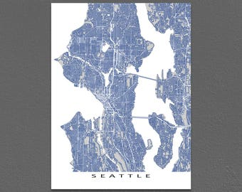Seattle Map, Seattle Art Print, Washington City Street Map