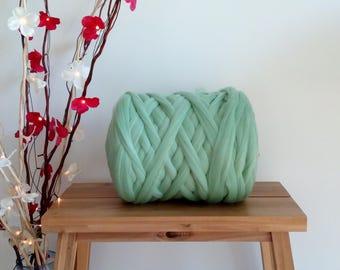 Mint Green* 100% Merino Wool Tops Roving Felting Spinning, Giant Chunky Super Bulky Yarn, Big Arm, Extreme Knitting: 50g - 1kg