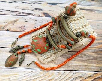 Polymer clay jewelry, ethnic jewelry, polymer clay necklace, ethnic polymer clay jewelry