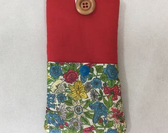 LIBERTY Phone/ iPhone case, Floral padded phone case, cellphone wallet,mobile phone case, phone pouch,soft phone case,slip case for phone.