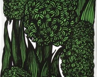 Handmade Marimekko Green Hyasintti pillow case, cushion cover, Finland
