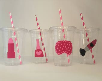 Spa Party Cups, Spa Birthday Party, Spa Party, Spa Birthday, Sleepover Party Cups
