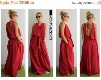 ON SALE Maxi dress / Red Long Dress / Red Oversize dress/ Woman Red dress / Open back dress