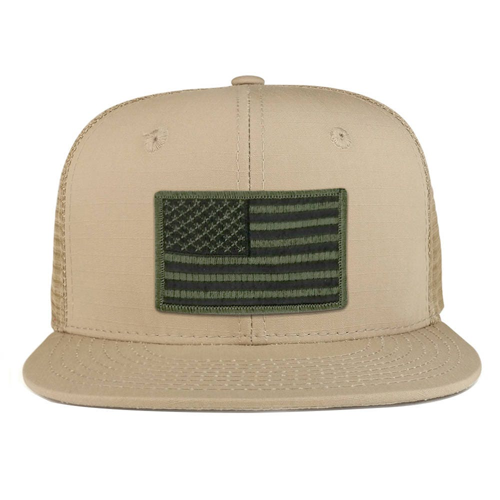Black Olive American Flag Iron on Patch Flat Bill Ripstop Trucker Mesh Cap  - (241-BLACKOLIVE) b04a33d148a
