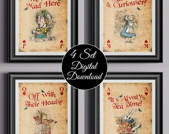 Alice in Wonderland Instant Download Wall Art Prints - Giant Playing Cards x 4 - Mad Hatter - Alice - Queen of Hearts - White Rabbit