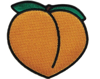 Iron/Sew On. Booty Savannah Georgia Peach iPhone emoji Jeans Embroidered Patch