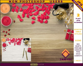 Desktop Styling | 2 Styled JPG Scenes | Non-Photoshop | Wood Table Perfume | Red Hearts Candles Gift Box | Blank Empty wall