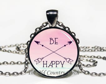 Be Happy-Glass Pendant Necklace/Graduation gift/mothers day/bridal gift/Easter gift/Gift for her/girlfriend gift/friend gift/birthday gift