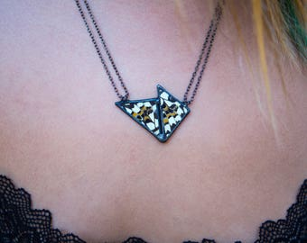 Reversible Geometric Butterfly Wing Necklace