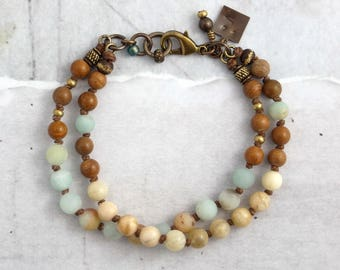 Feldspar and amazonite bracelet, Earthy stone jewelry for everyday, Rustic gift for boho brides, Unique present for a friend