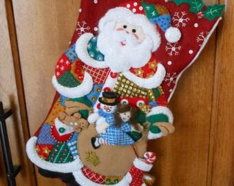 Bucilla 18in Patchwork Santa finished stocking