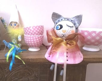 Cat pink paper mache sitting or hanging