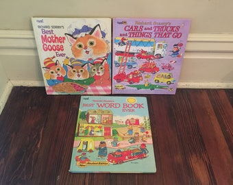 Large Vintage Richard Scarry Book Lot/Big Golden Books/Busytown Books
