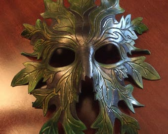 Leather Tree Spirit Green Man Mask/ Spring-Summer - Cosplay - LARP - Halloween - Fancy Dress