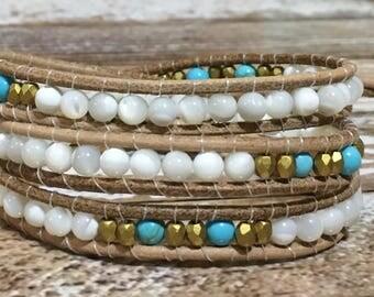 Healing Crystal Bracelet / Turquoise Bracelet / Chakra Healing Bracelet / Triple Wrap Bracelet / Chan Luu Style Bracelet