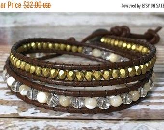 SALE Healing Crystal Bracelet / Chan Luu Style Wrap Bracelet / Chakra Jewelry / Healing Crystal Jewelry / Bohemian Bracelet