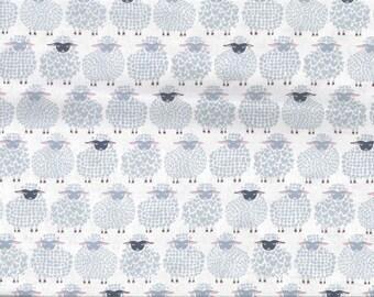 Fabric blue grey sheep on white background