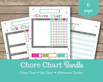 Chore Chart / Addy  / Kids Chore Chart / Printable Chore Chart / Reward Charts / Kids Chores / Allowance Tracker