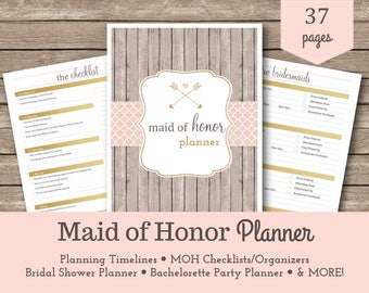 Maid of Honor Planner / Matron of Honor / Bridal Shower Planner / Bachelorette Bash Planner / Maid of Honor Checklist / Wedding Planner