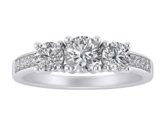 2.00 Carat Round Cut Simulated Diamond 3 Stone Engagement Wedding Anniversary Ring Real Solid 14k White Gold