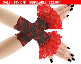 Red black short fingerless gloves, wrist warmers gothic burlesque goth vintage, womens evening gloves, black lace gloves vampire lolita 02E